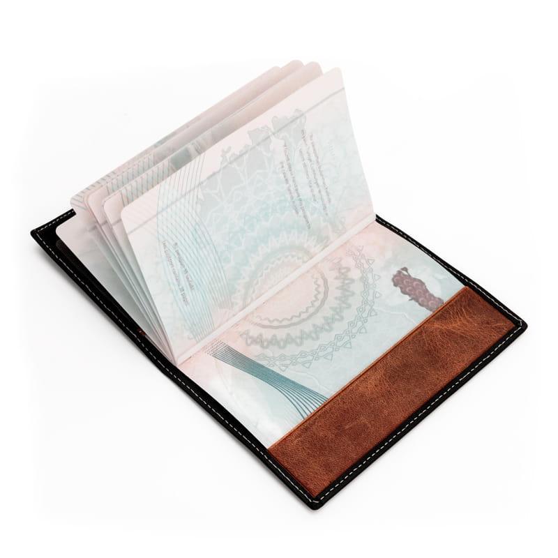 Kişiye Özel Pusula Tasarımlı Deri Pasaportluk