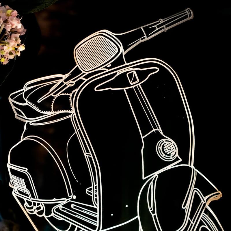 Klasik Scooter Motorbisiklet Tasarımlı 3D Led Lamba