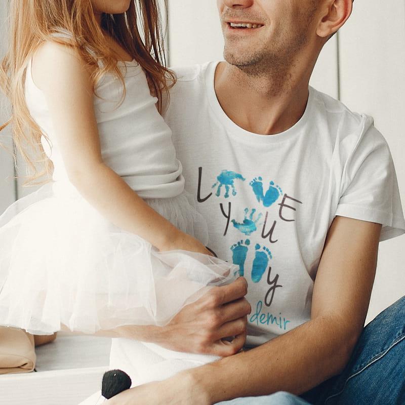 Love You Dad Babalar günü Hediyesi Kişiye Özel Tişört