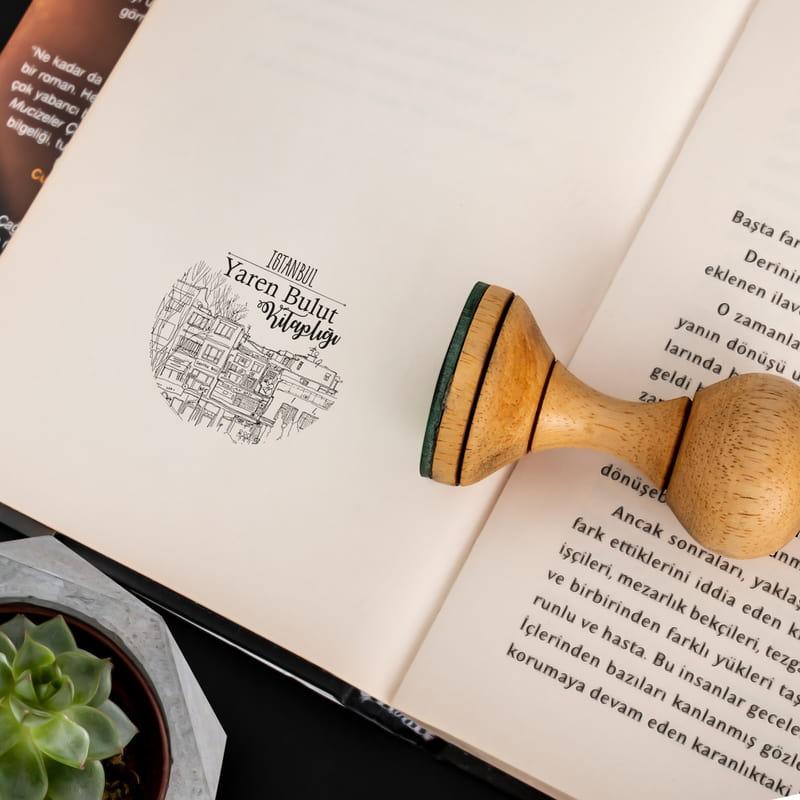 Minimal İstanbul Silüetli Kişiye Özel Kitap Mührü