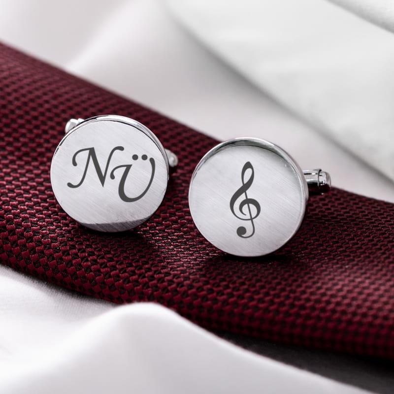 Müzik Öğretmenlerine Hediye Baş Harf Yazılı Kol Düğmesi