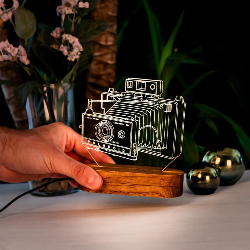 Nostaljik Fotoğraf Makinesi Tasarımlı 3D Led Lamba
