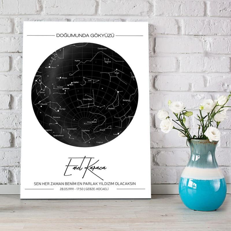 Özel Gün Hediyesi Yıldız Haritası Kanvas Tablo 30x40
