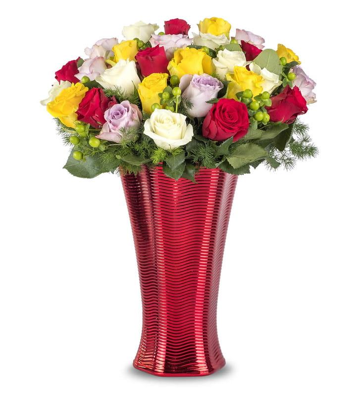 Premium Vazoda Renkli Güller Aranjmanı