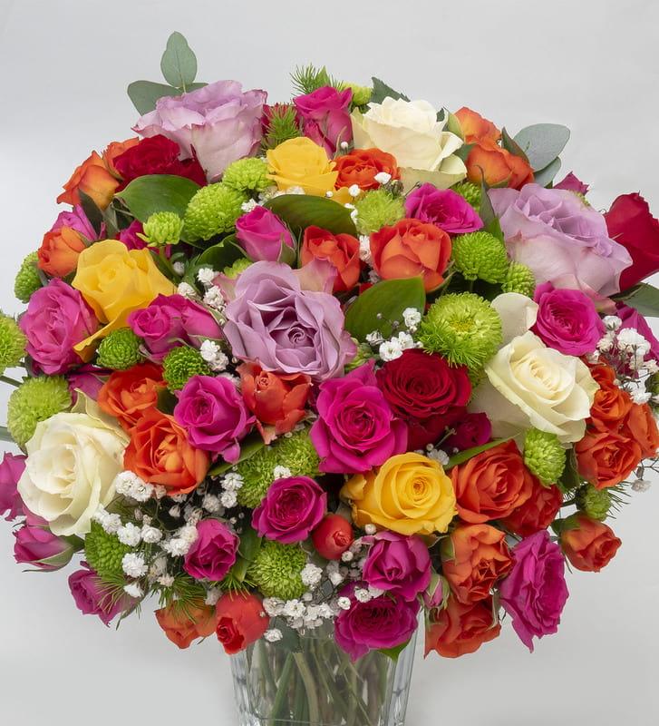 Renkli Bahar Gülleri Mutluluk Vazosu