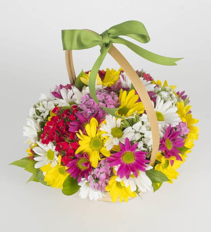 Renkli Papatyalar Aranjmanı Çiçek Sepeti