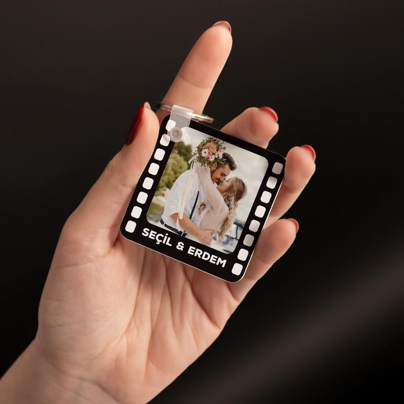 Sevgiliye Hediye Film Şeridi Baskılı Anahtarlık