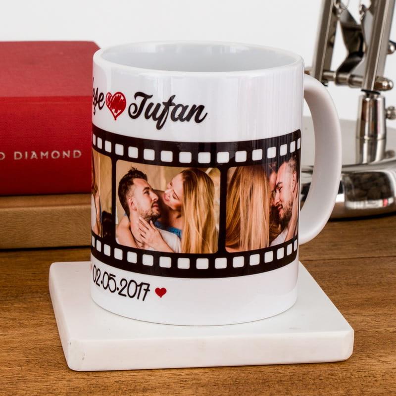 Sevgiliye Hediye Film Şeridi Tasarımlı Kişiye Özel Kupa