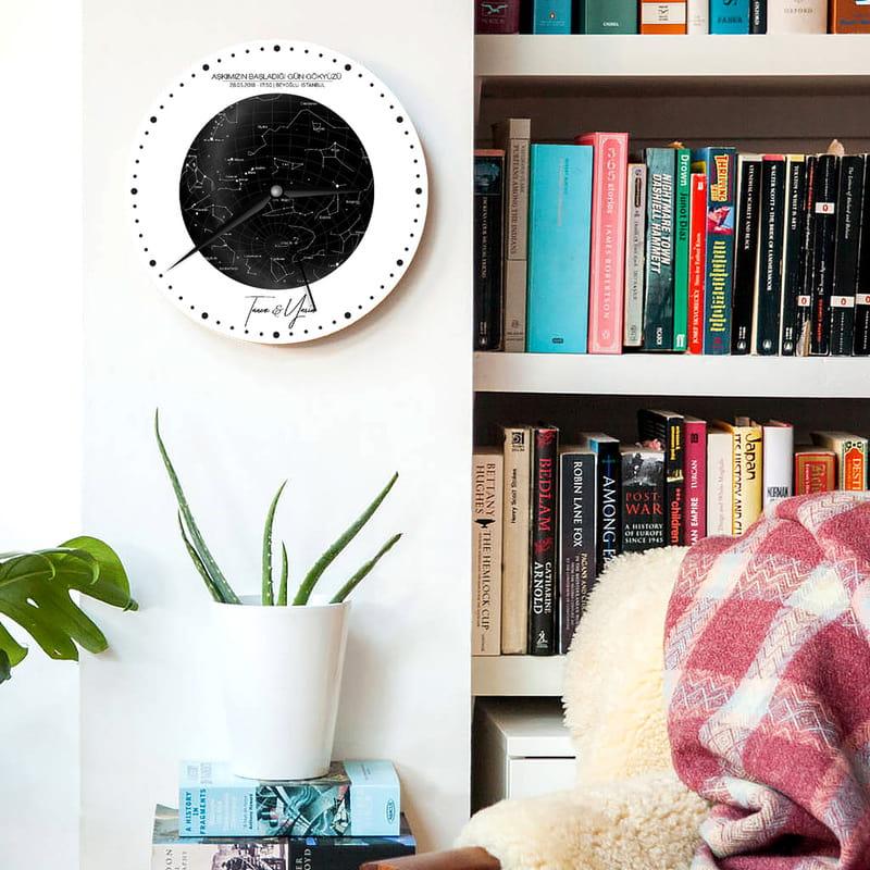 Sevgiliye Hediye Özel Gün Yıldız Haritası Tasarımlı Duvar Saati