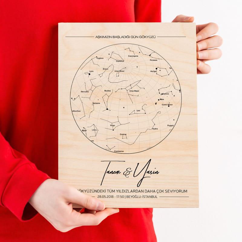 Sevgiliye Hediyesi Özel Gün Yıldız Haritası Tasarımlı Ahşap Plaka