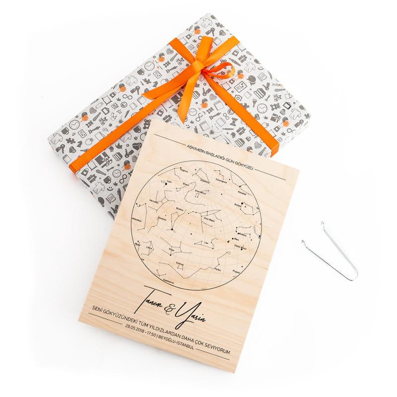 Sevgiliye Hediye Yıldız Haritası Tasarımlı Ahşap Plaka