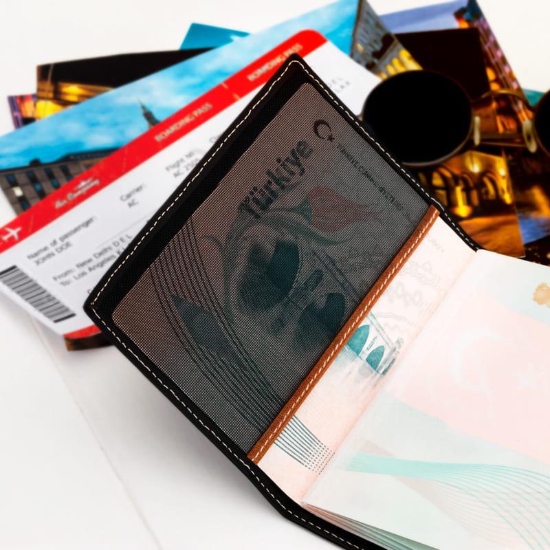 Uçak Bileti Tasarımlı Deri Pasaportluk