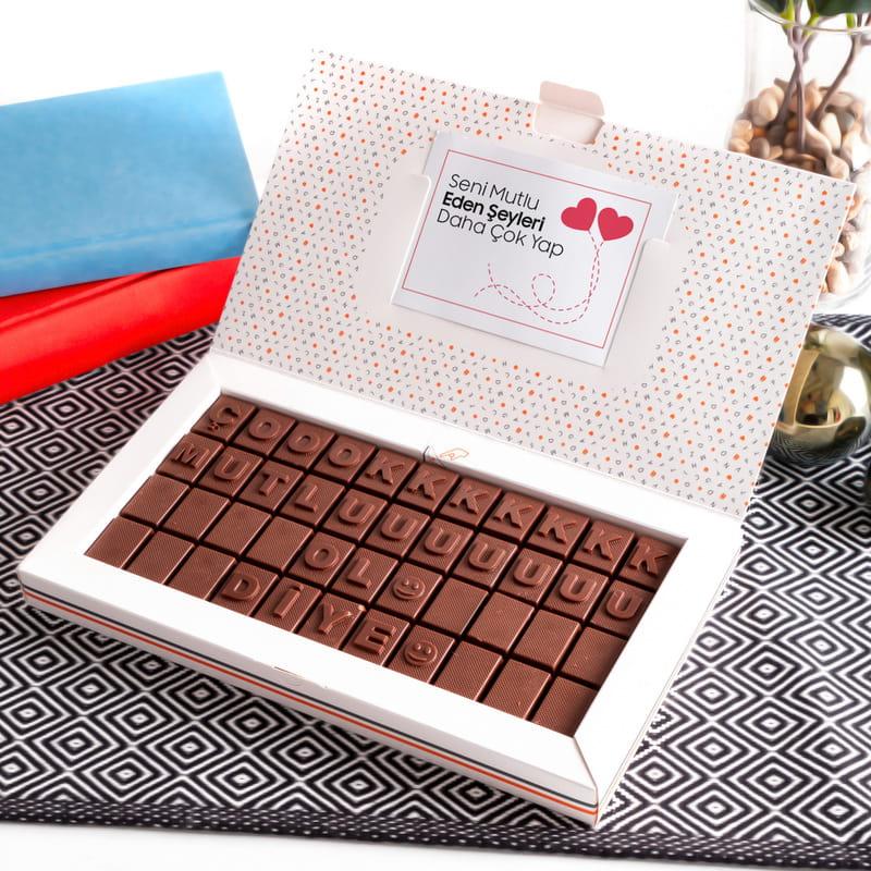 Arkadaşa Hediye Çok Mutlu Ol Mesajlı Harf Çikolata