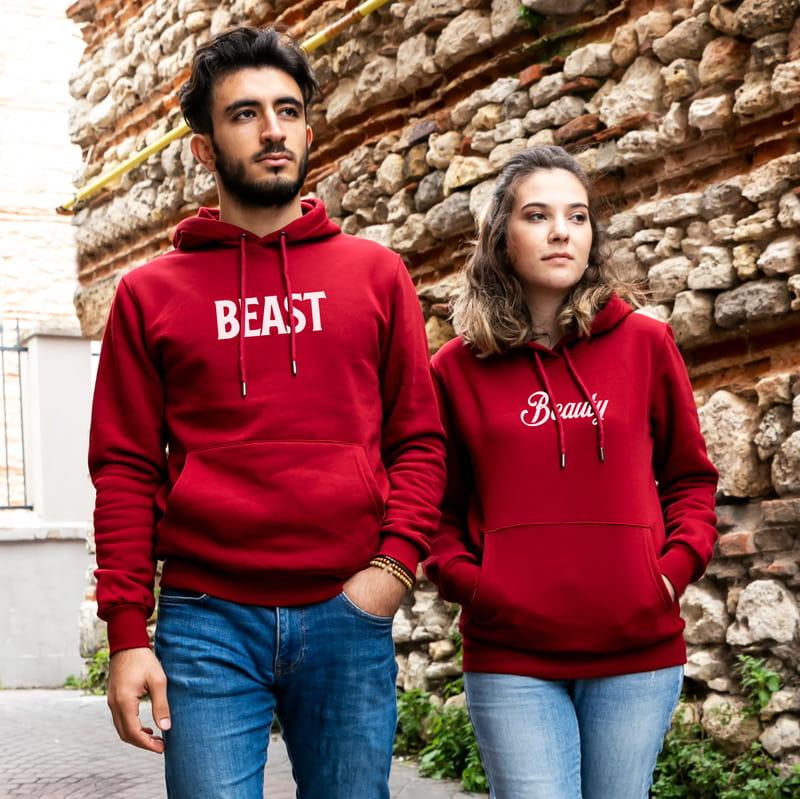 Beauty Beast Çiftlere Özel Kapşonlu Sweatshirt Kombini