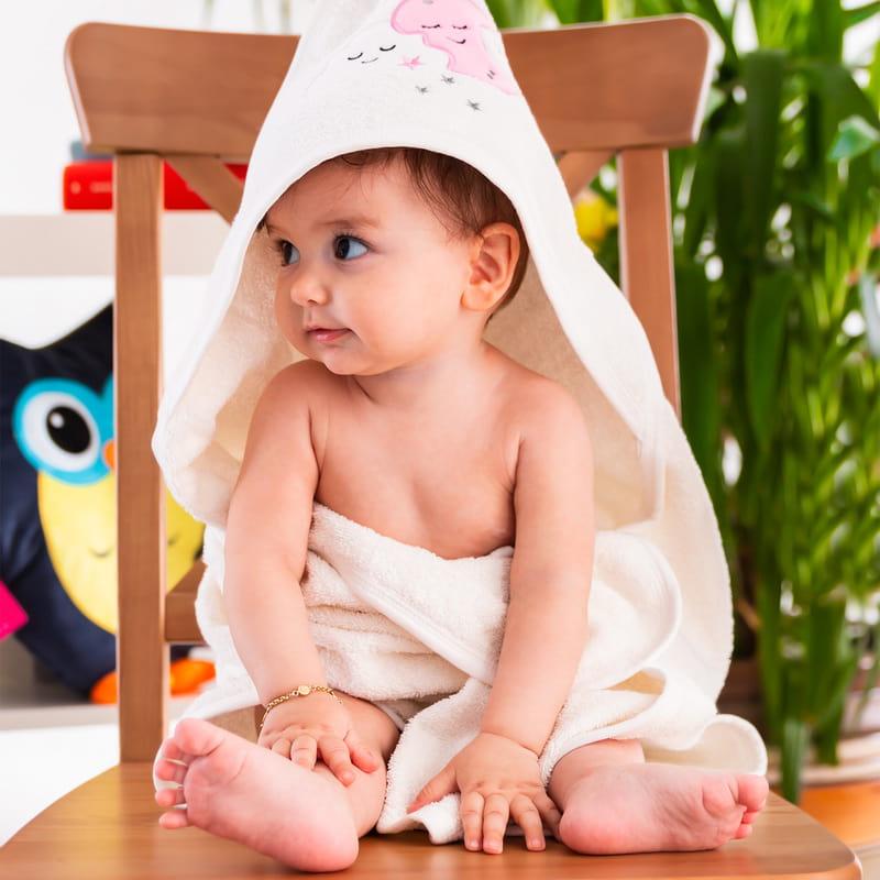Bebeğinize İsme Özel Kapüşonlu Bornoz Havlu
