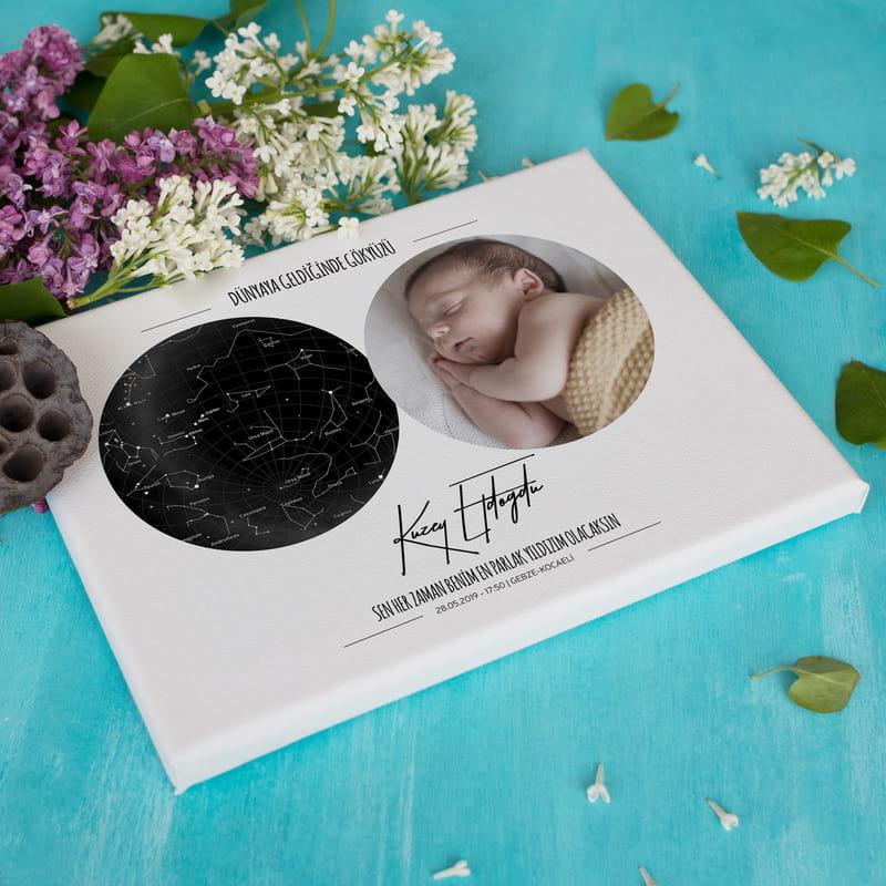 Bebek Doğum Hediyesi Fotoğraflı Yıldız Haritası Kanvas Tablo