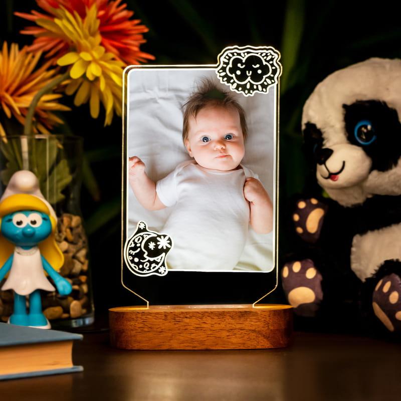 Bebek Odasına Özel Fotoğraflı 3D Led Lamba