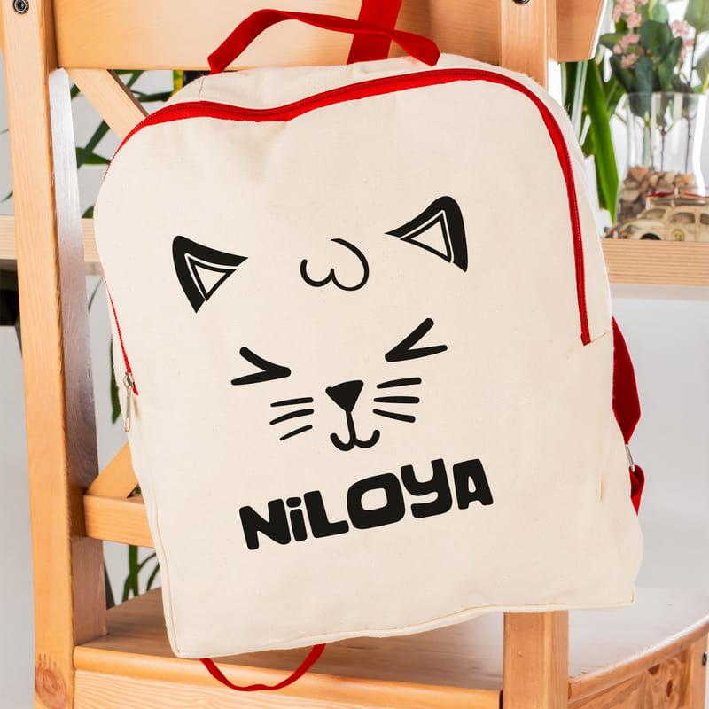 Çocuklara Kedi Tasarımlı Ham Bez Okul Çantası