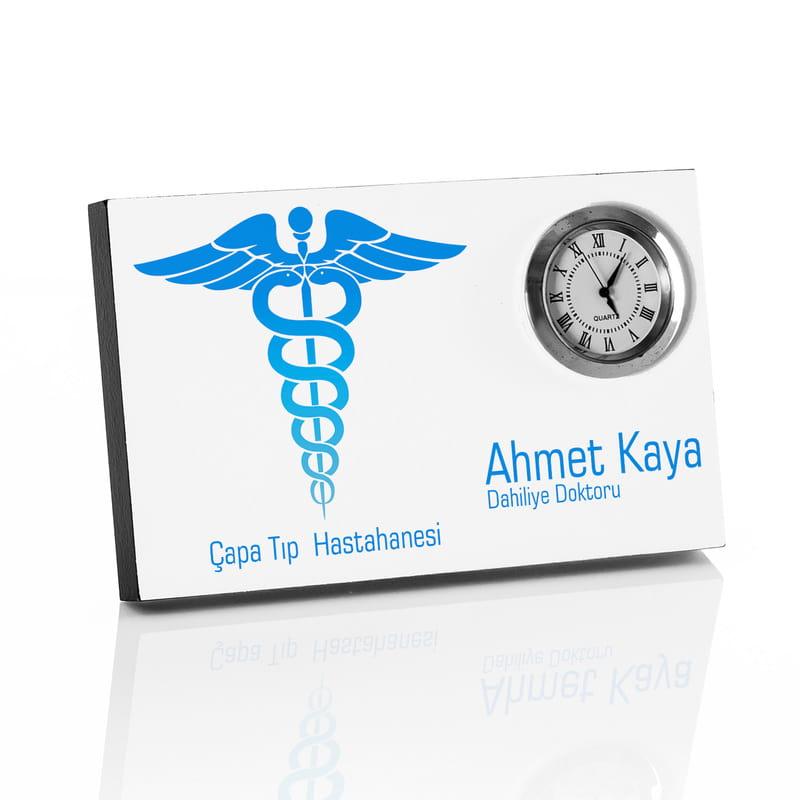Doktora Hediye İsim Yazılı Saatli Masa İsimliği