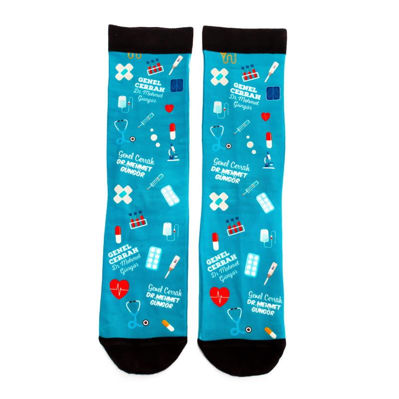 Doktorlara Hediye İsim ve Unvan Yazılı Renkli Esprili Çorap