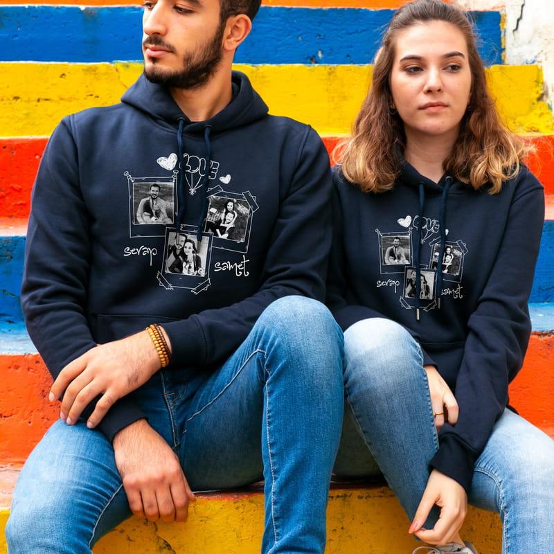 Fotoğraf Kolajlı Çiftlere Özel Kapşonlu Sweatshirt Kombini