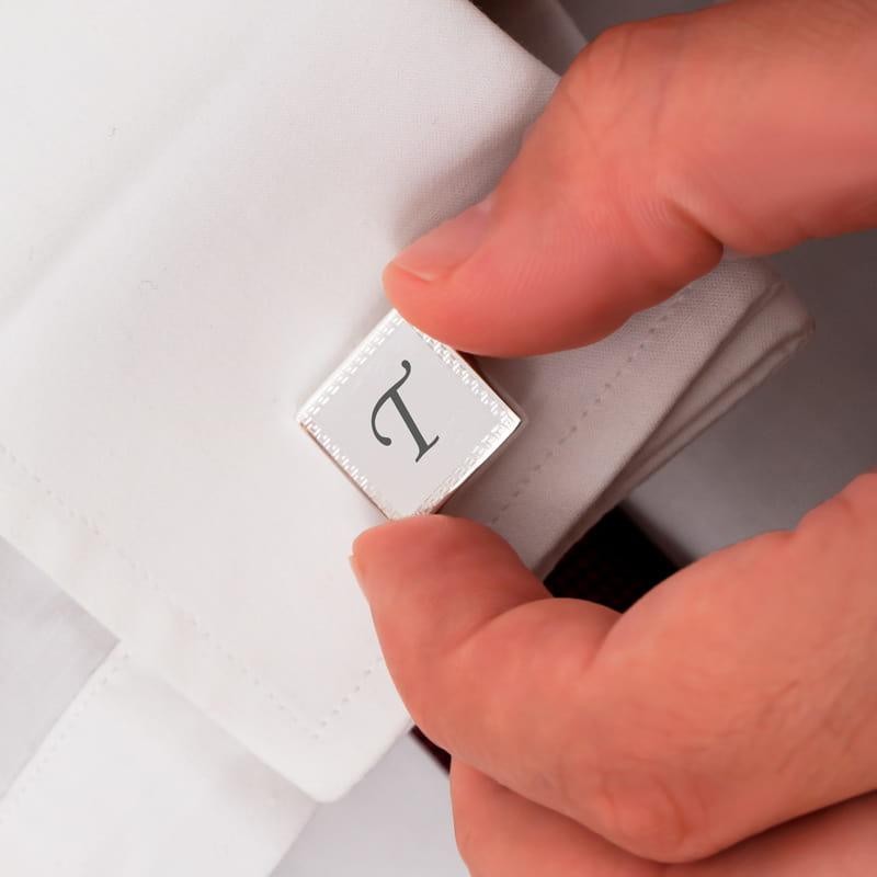 Gümüş Kaplama Kare Kol Düğmesi