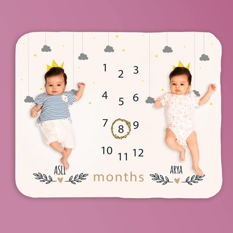 İkiz Bebek Doğum Hediyesi Aylık Fotoğraf Çekim Battaniyesi