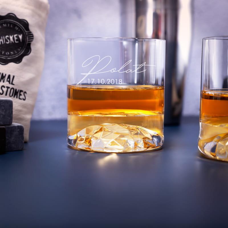 İmza Tasarımlı Ahşap Kutulu 2 li Chicago Viski Kadeh Seti