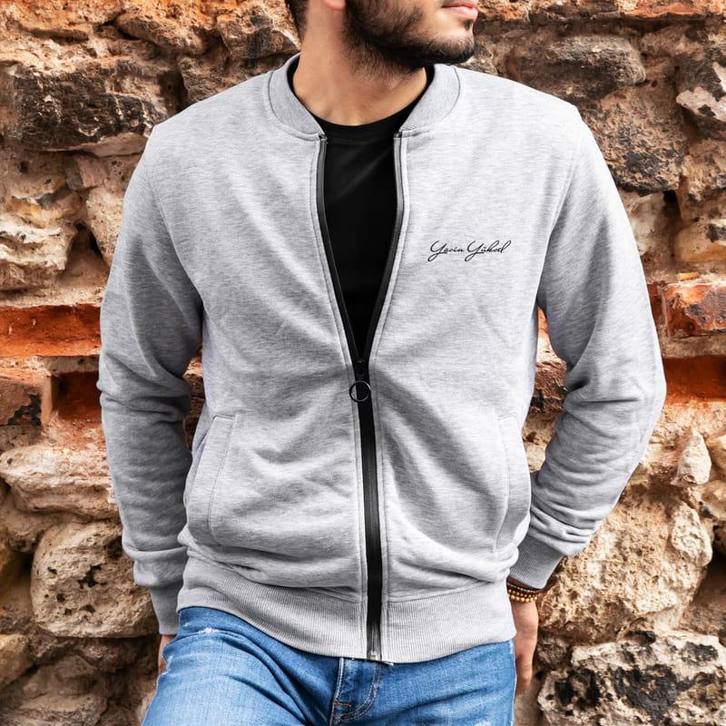 İmza Tasarımlı Kişiye Özel Fermuarlı Nakış İşlemeli Sweatshirt