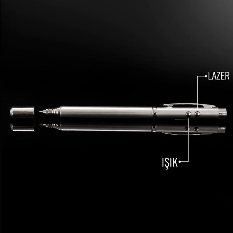 İsim ve Unvan Yazılı Lazerli - Işıklı Teleskobik Sunum Kalemi