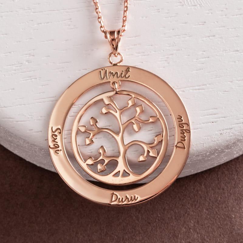 İsim Yazılı Yaşam Ağacı Gümüş Kolye