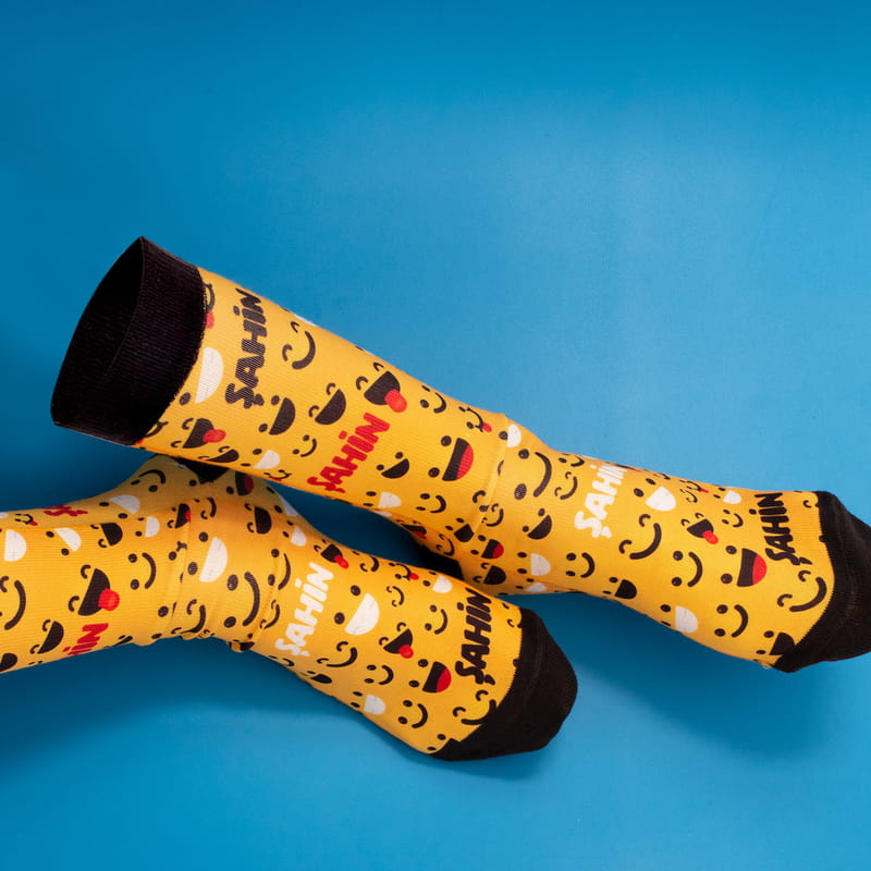 İsme Özel Emoji Baskılı Esprili Çorap