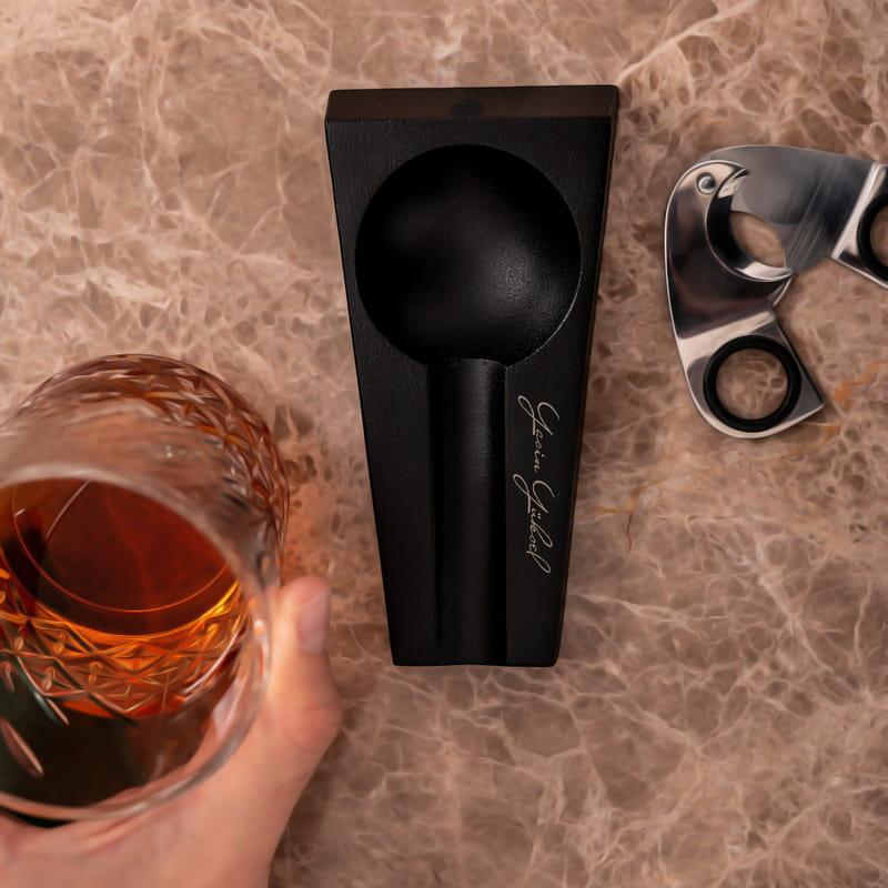 İsme Özel İmza Tasarımlı Metal Siyah Puro Küllüğü