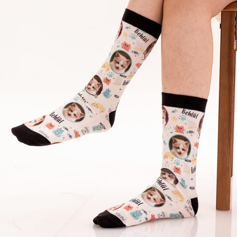 Kedinizin Fotoğrafı ve İsmi Baskılı Esprili Çorap