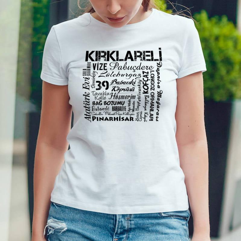 Kırklareli İli Tasarımlı Baskılı Tişört