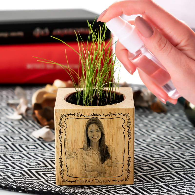 Kişiye Özel Fotoğraflı Bitki Tohumlu Naturacube