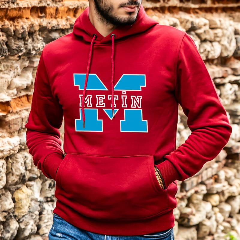 Kişiye Özel İsim Baskılı Kapşonlu Sweatshirt