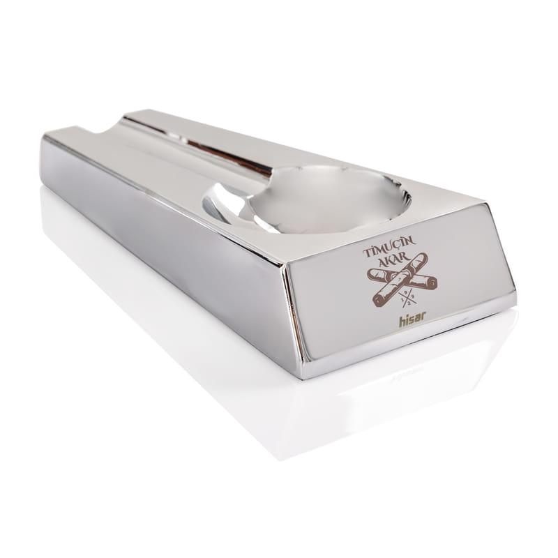 Kişiye Özel Premium Parlak Gri Metal Puro Küllüğü