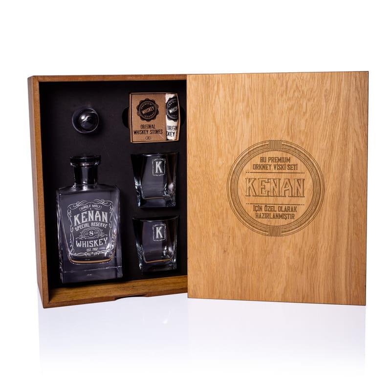 Kişiye Özel Retro Tasarımlı Ahşap Kutulu Orkney Viski Seti