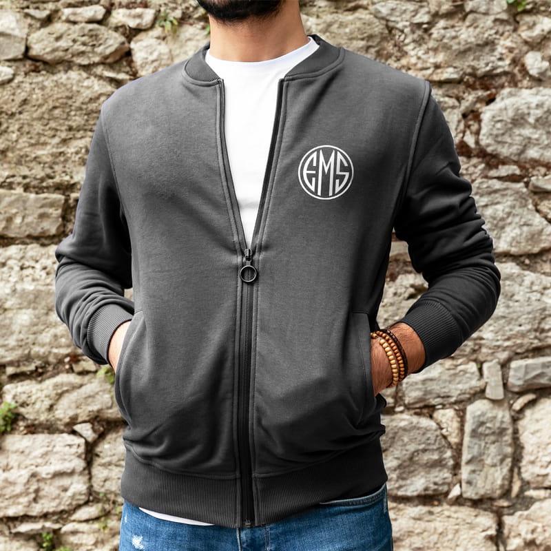 Monogram Tasarımlı İsme Özel Nakışlı Fermuarlı Sweatshirt