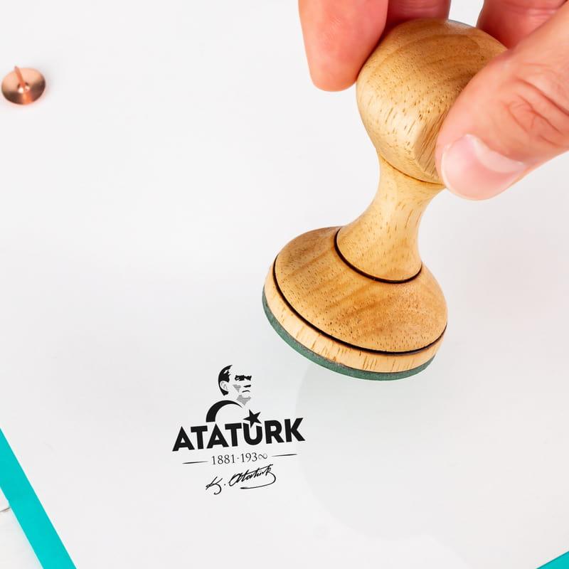 Mustafa Kemal Atatürk Tasarımlı Ahşap Kitap Mührü