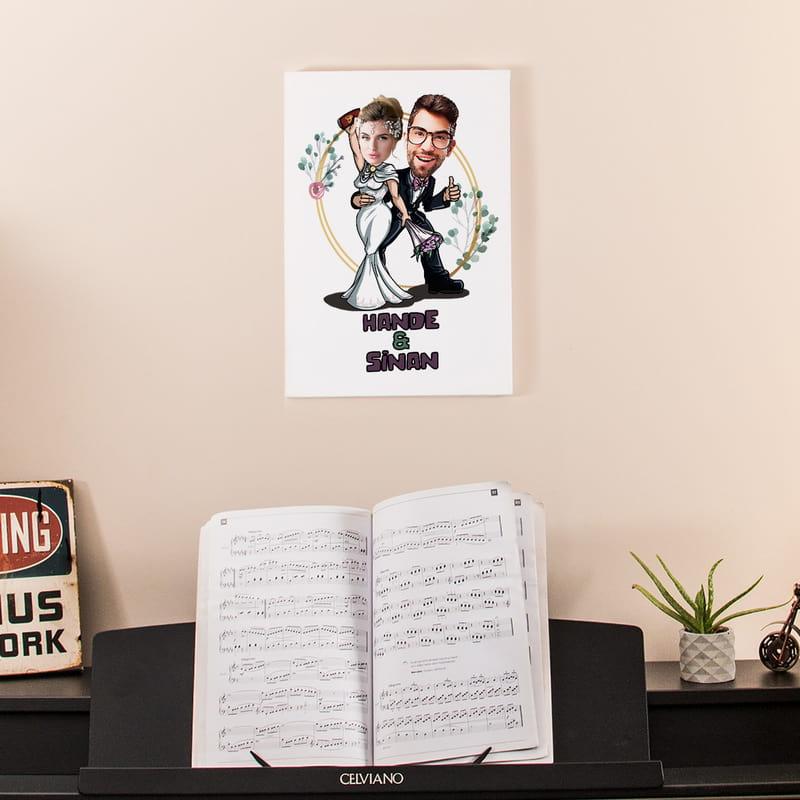 Nikah & Düğün Hatırası Karikatür Fotoğraf Baskılı Esprili Tablo 30x40