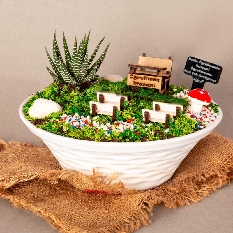 Öğretmenlere Hediye El yapımı Canlı Minyatür Bahçe