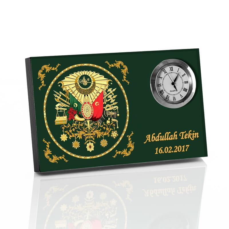 Osmanli Armalı Hediye Saatli Masa İsimliği