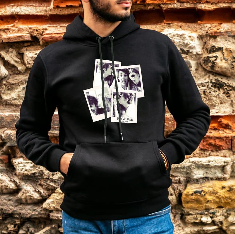 Polaroid Fotoğraf Baskılı Kapşonlu Sweatshirt