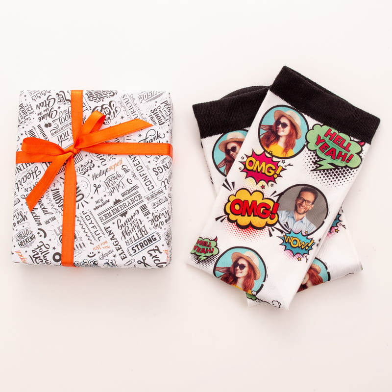 Pop art Çizgi Roman Tasarımlı Fotoğraf Baskılı Esprili Çorap