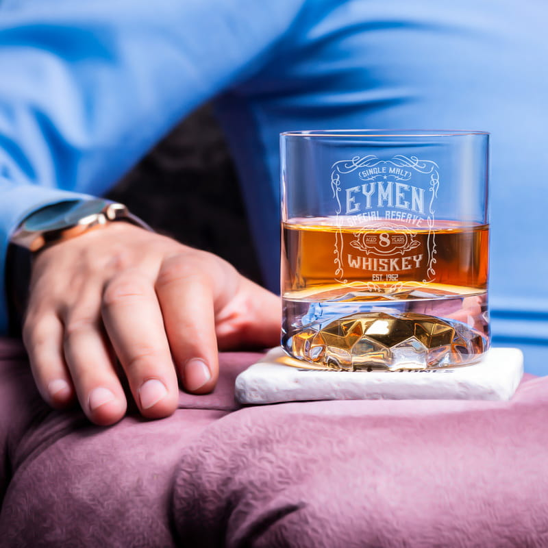 Retro Tasarımlı Ahşap Kutulu Chicago Viski Kadeh Seti