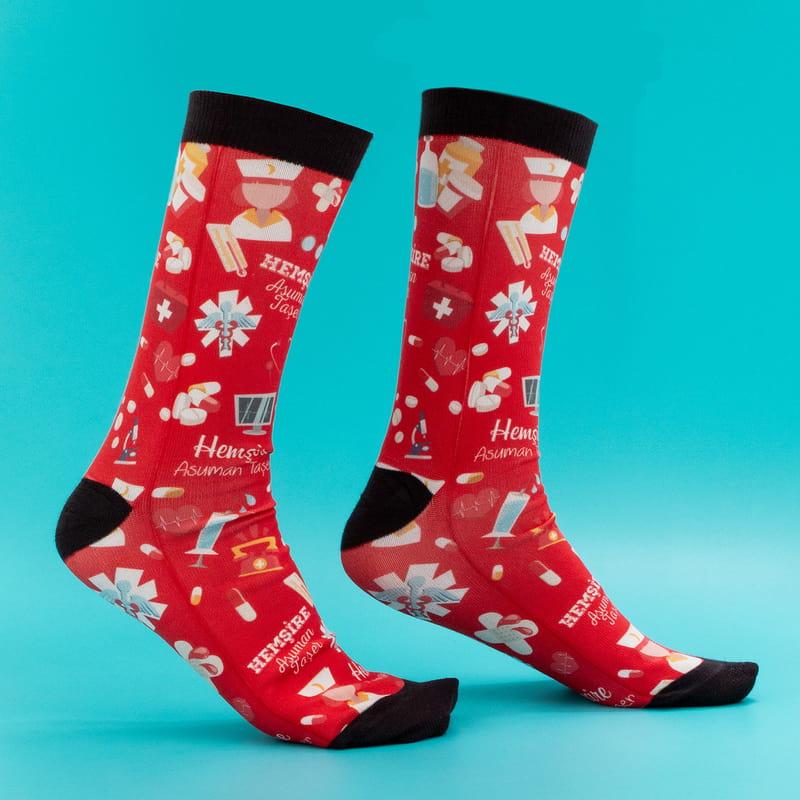 Sağlık Çalışanı Hemşirelere Özel İsim Baskılı Esprili Çorap