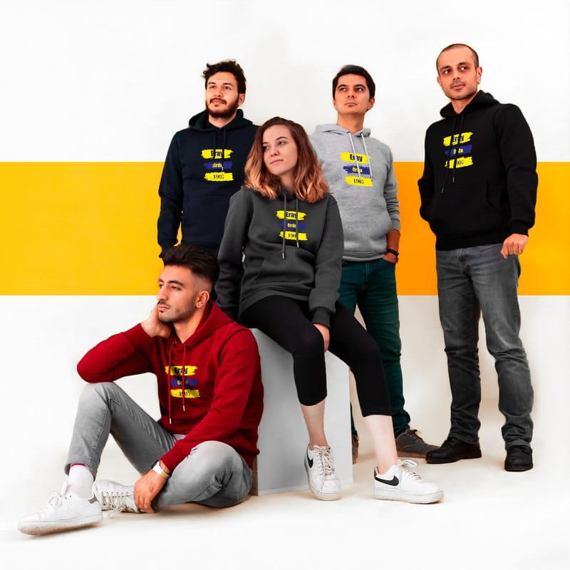 Sarı Lacivert Baskılı Kişiye Özel Kapşonlu Sweatshirt