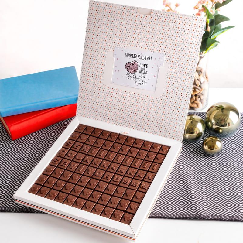 Seni Çok Seviyorum Mesajlı Harf Çikolata